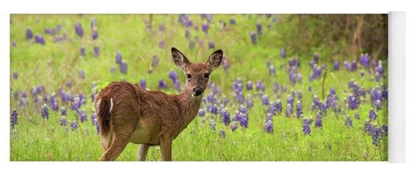Deer In The Bluebonnets Yoga Mat