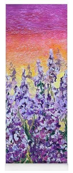 Yoga Mat featuring the painting Delphiniums by Norma Duch