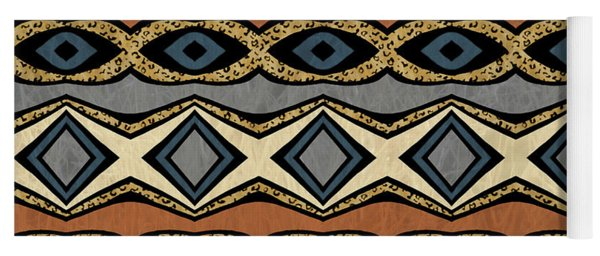 Diamond And Eye Motif With Leopard Accent Yoga Mat