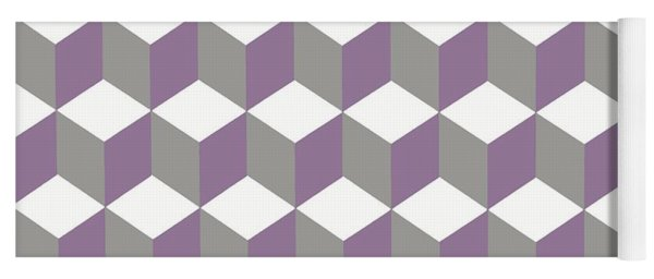 Diamond Repeating Pattern In Crocus Purple And Grey Yoga Mat
