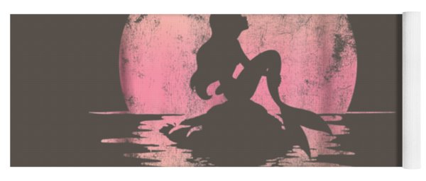 Disney The Little Mermaid Ariel Rock Moon Silhouette T-shirt Yoga Mat