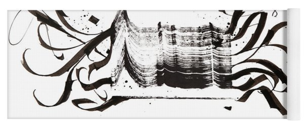 Disruption. White. Calligraphic Abstract Yoga Mat