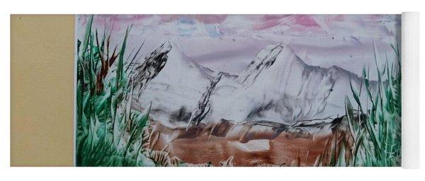 Distant Impressionistic Mountains Yoga Mat