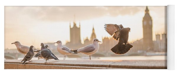 Doves And Seagulls Over The Thames In London Yoga Mat