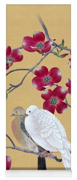 Doves In Red Dogwood Tree Yoga Mat