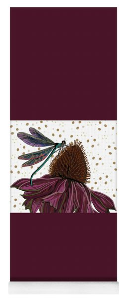 Dragon Fly And Echinacea Flower Yoga Mat
