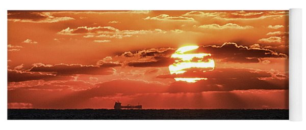Yoga Mat featuring the photograph Dramatic Atlantic Sunrise With Ghost Freighter by Bill Swartwout Fine Art Photography
