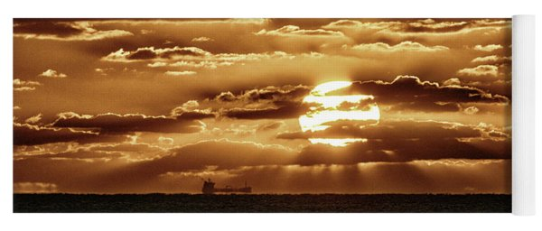 Yoga Mat featuring the photograph Dramatic Atlantic Sunrise With Ghost Freighter In Goldtone by Bill Swartwout Fine Art Photography