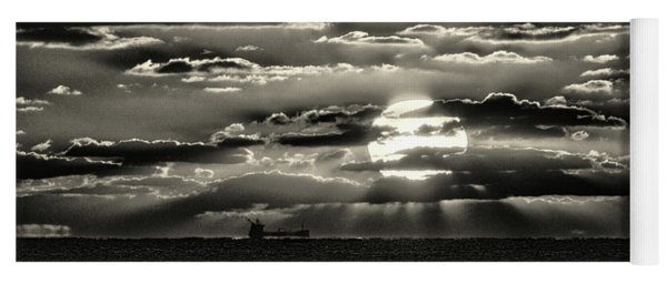 Yoga Mat featuring the photograph Dramatic Atlantic Sunrise With Ghost Freighter In Monochrome by Bill Swartwout Fine Art Photography