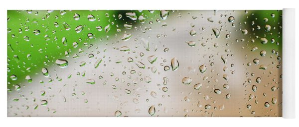 Drops Of Rain On An Autumn Day On A Glass. Yoga Mat