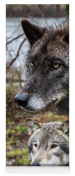Dual Wolves Yoga Mat