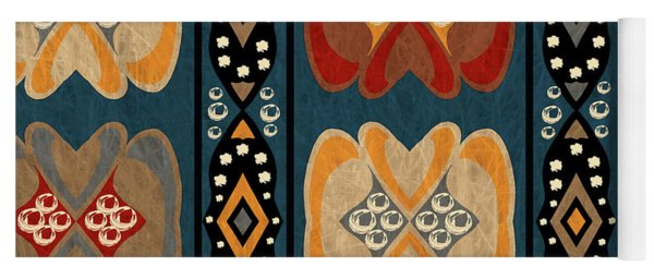 East African Heart And Diamond Stripe Pattern Yoga Mat