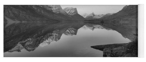 East Glacier St. Mary Spring Sunrise Black And White Yoga Mat