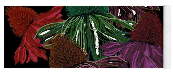 Echinacea Flowers With Black Yoga Mat