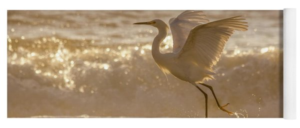 Egret At The Beach On A Sunny Morning Yoga Mat