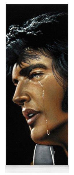 Elvis Presley The King Portrait Vegas White Jumpsuit Oil Painting Velvet A372 Yoga Mat