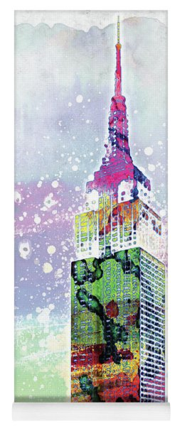Empire State Building Colorful Watercolor Yoga Mat