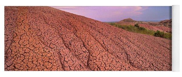 Eroded Sedimentary Rock, Badlands Yoga Mat