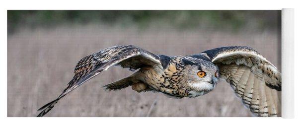 Eurasian Eagle Owl In Flight Yoga Mat