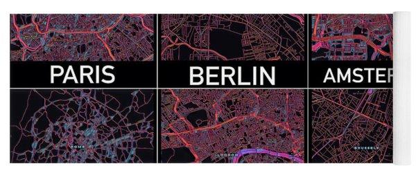 European Capital Cities Maps Yoga Mat