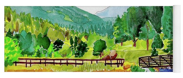 Yoga Mat featuring the painting Evergreen Lake Spring Watercolor by Dan Miller