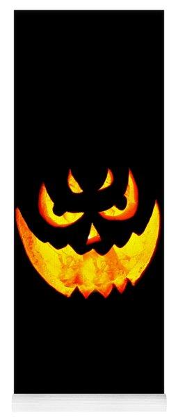 Evil Glowing Pumpkin Yoga Mat