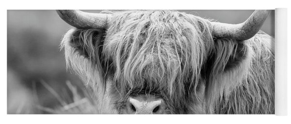 Face-to-face With A Highland Cow - Monochrome Yoga Mat
