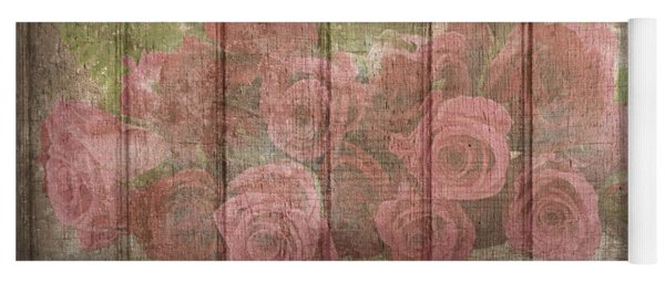 Faded Red Country Roses On Wood Yoga Mat
