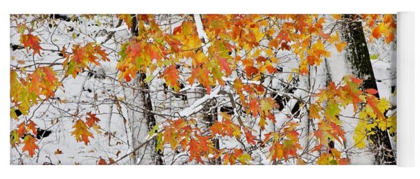 Fall And Snow Yoga Mat