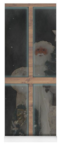 Father Christmas In Window Yoga Mat