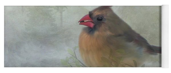 Female Cardinal With Seed Yoga Mat