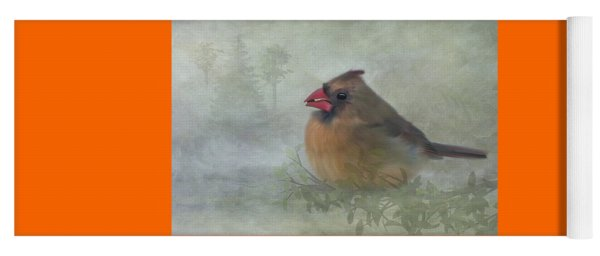 Yoga Mat featuring the photograph Female Cardinal With Seed by Patti Deters