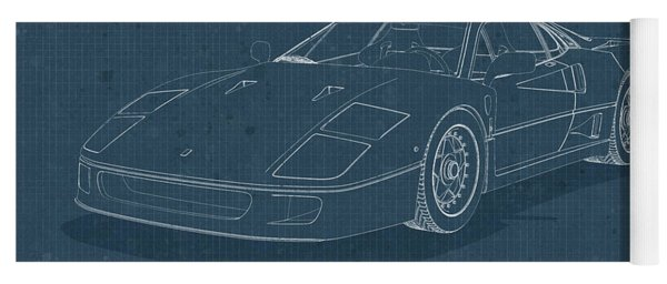 Ferrari F40 - Blueprint  Yoga Mat