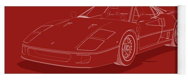 Ferrari F40 - White Blueprint On Red Yoga Mat