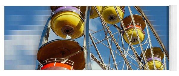 Ferris Wheel On Mosaic Blurred Background Yoga Mat