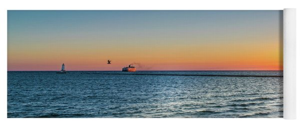 Ferry Going Into Sunset Yoga Mat