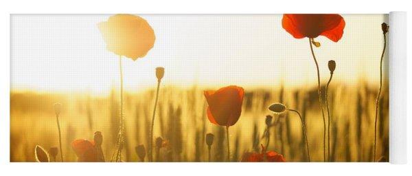 Field Of Poppies At Dawn Yoga Mat