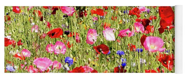 Field Of Red Poppies Yoga Mat