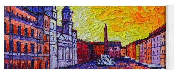Fiery Navona Rome Italy Modern Impressionist Textural Impasto Knife Oil Painting Ana Maria Edulescu Yoga Mat