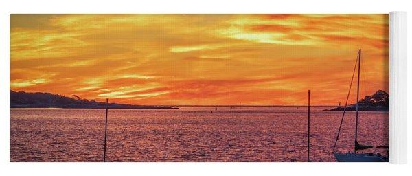 Fiery Sunrise Over Casco Bay Yoga Mat
