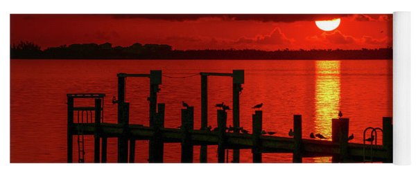 Yoga Mat featuring the photograph Fireball And Pier Sunrise by Tom Claud