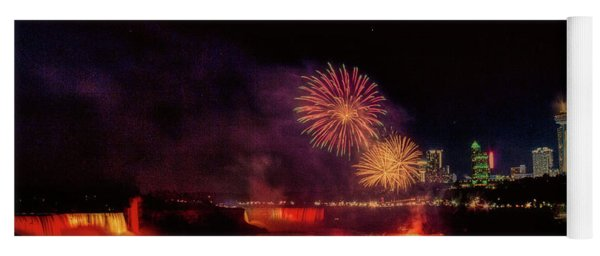 Fireworks Over The Falls. Yoga Mat