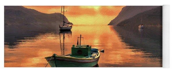 Fishing Boats At Sunset Simi Greek Islands-dwp40406001 Yoga Mat