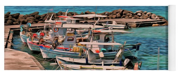 Yoga Mat featuring the photograph Fishing Boats Corfu by Leigh Kemp