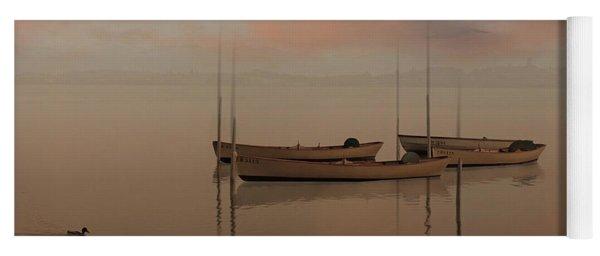 Fishing Boats Resting At Dusk Yoga Mat