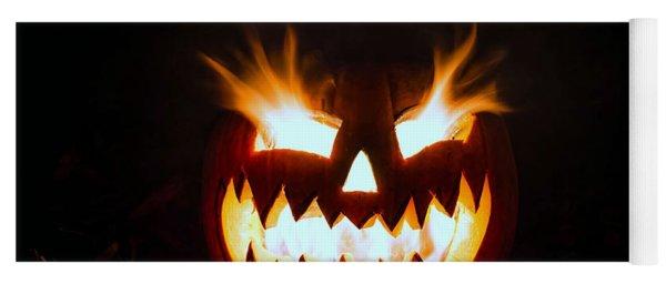Flaming Pumpkin Yoga Mat