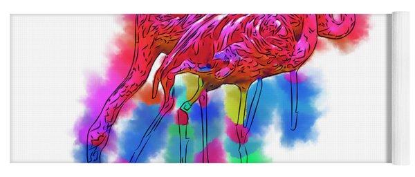 Flamingo Flock In Abstract Yoga Mat
