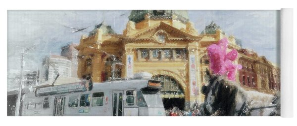 Yoga Mat featuring the painting Flinders Street Station, Melbourne by Chris Armytage