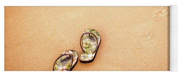 Flip-flops On The Sand. Yoga Mat