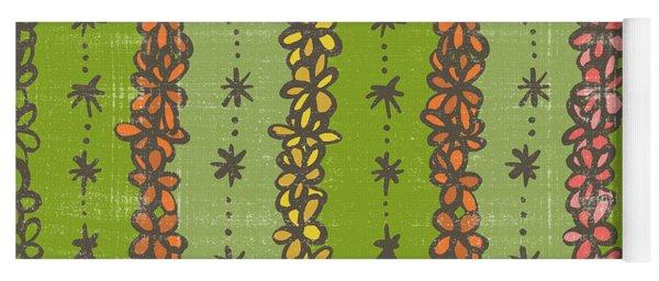 Floral Stripes Pattern Yoga Mat